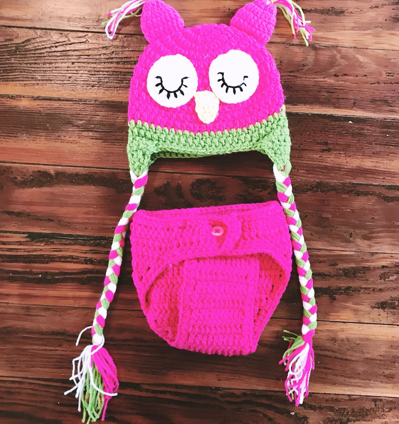 Owl Hat/ Diaper Cover Outfit