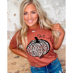 Leopard Pumpkin Graphic Tee-Rust