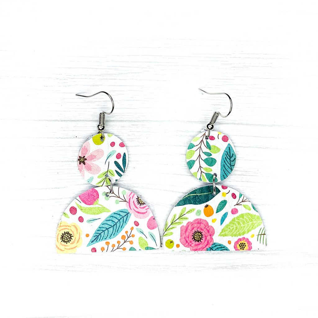 Savvy Bling Leather Earrings- Easter Floral Geometrics