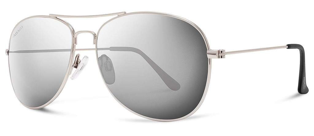 Avery Sunglasses Silver Frame Polarized Chrome Mirror Lenses