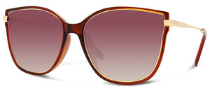 Ella Sunglasses Crystal Brown/Gold Frame with Brown Gradient Lens