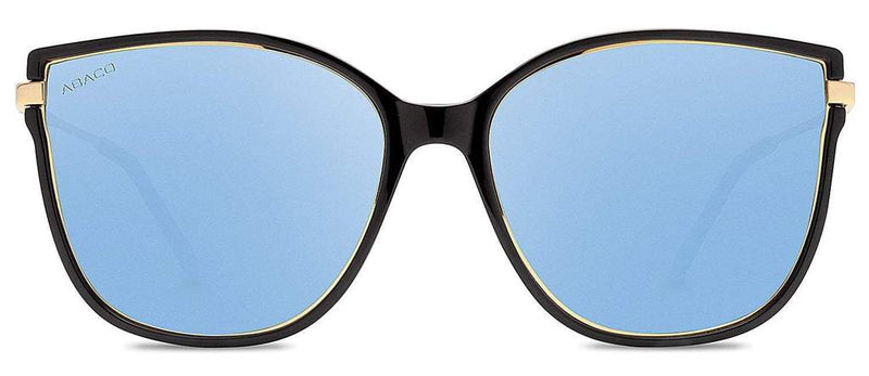 Ella Sunglasses Gloss Black/Gold Frame with Blue Mirror Lens