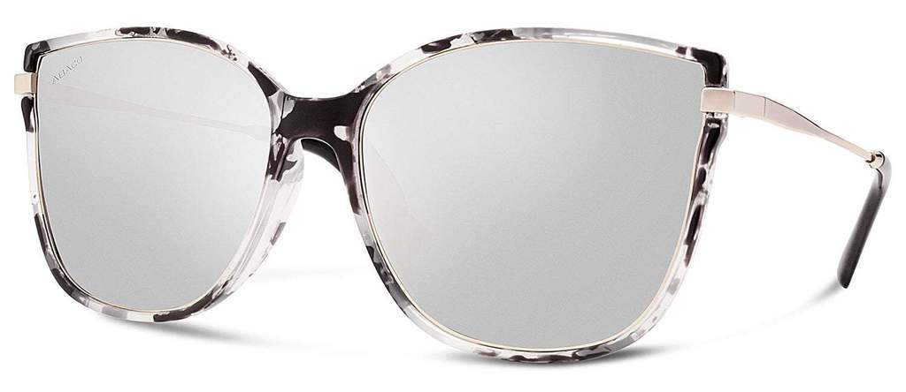 Ella Sunglasses White Tortoise Frame with Chrome Lens