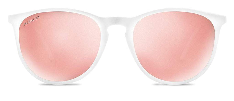 Piper Sunglasses White/Rose Gold Frame Polarized Pink Lenses