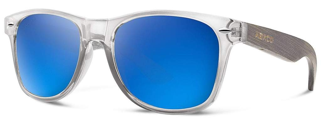 Taylor Sunglasses Crystal Grey/Bamboo Frame Polarized Blue Mirror Lenses