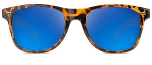 Taylor Sunglasses Gloss Tortoise/Bamboo Frame Polarized Blue Mirror Lenses