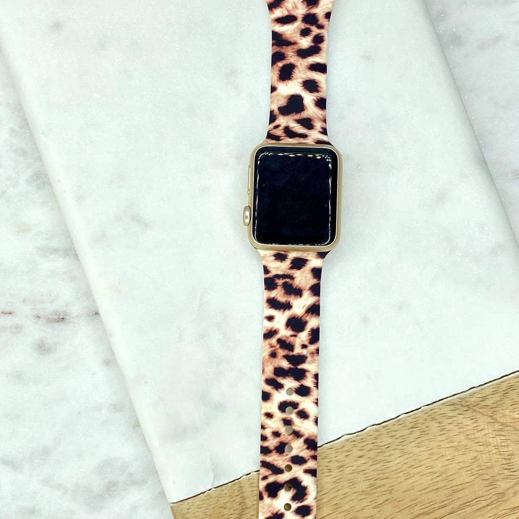Leopard Print Silicone Smart Watch Band