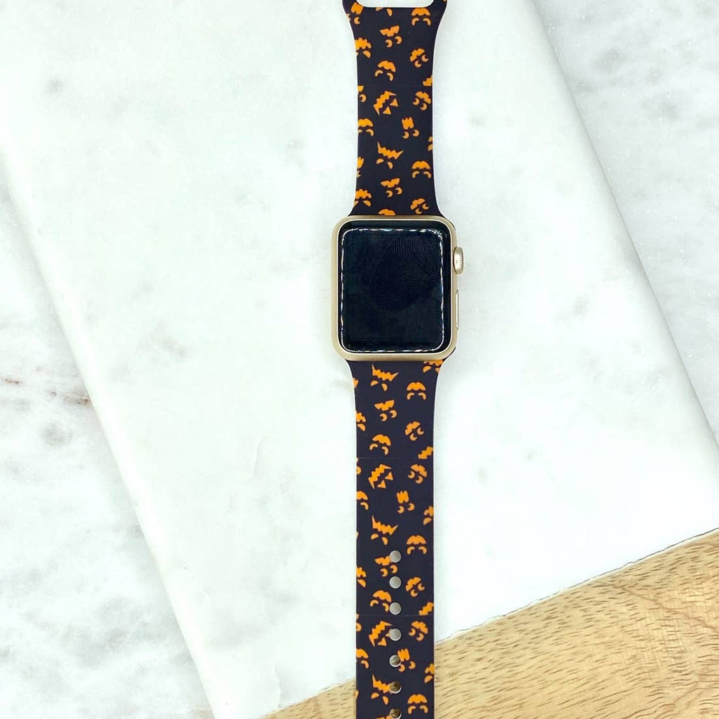 Spooky Jack-O-Lantern Printed Silicone Watch Band