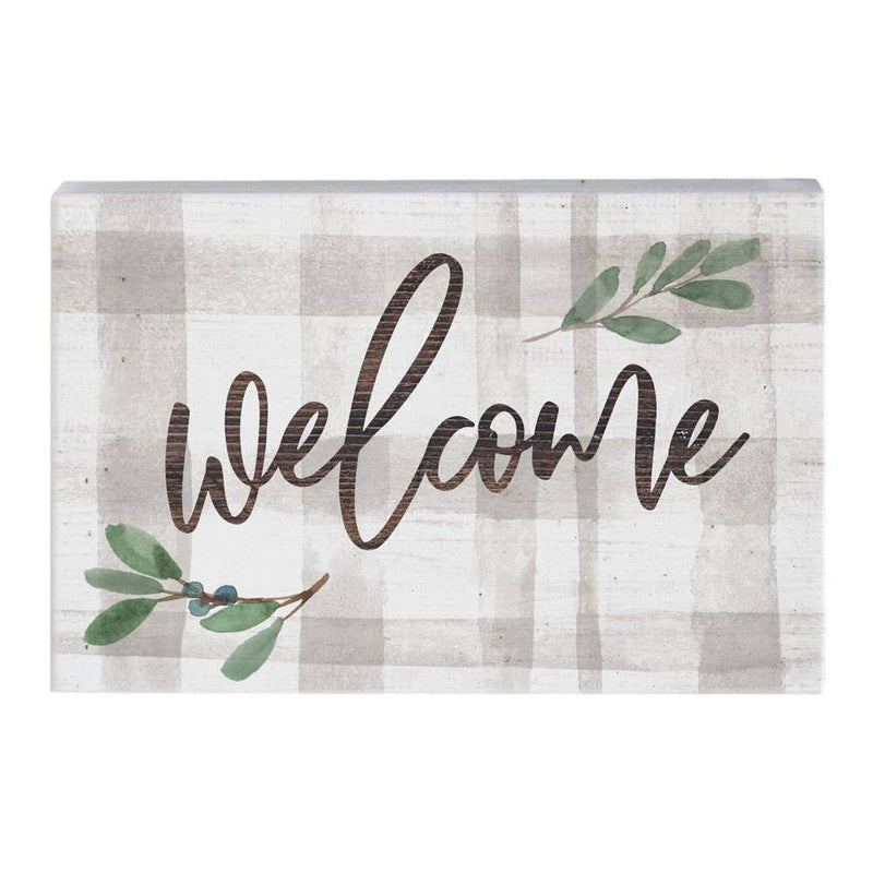 Welcome Plaid Sign