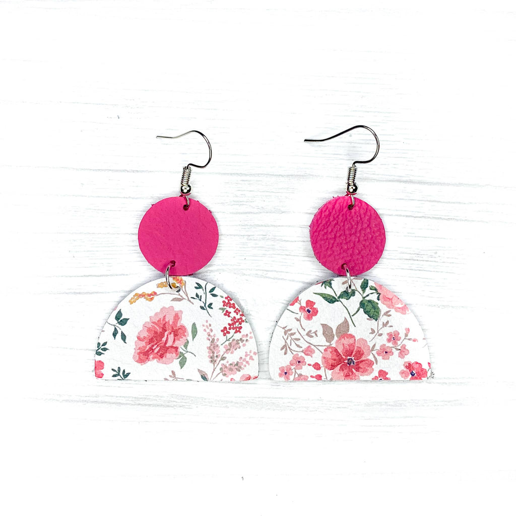 Savvy Bling Leather Earrings- Pink Floral Geometrics