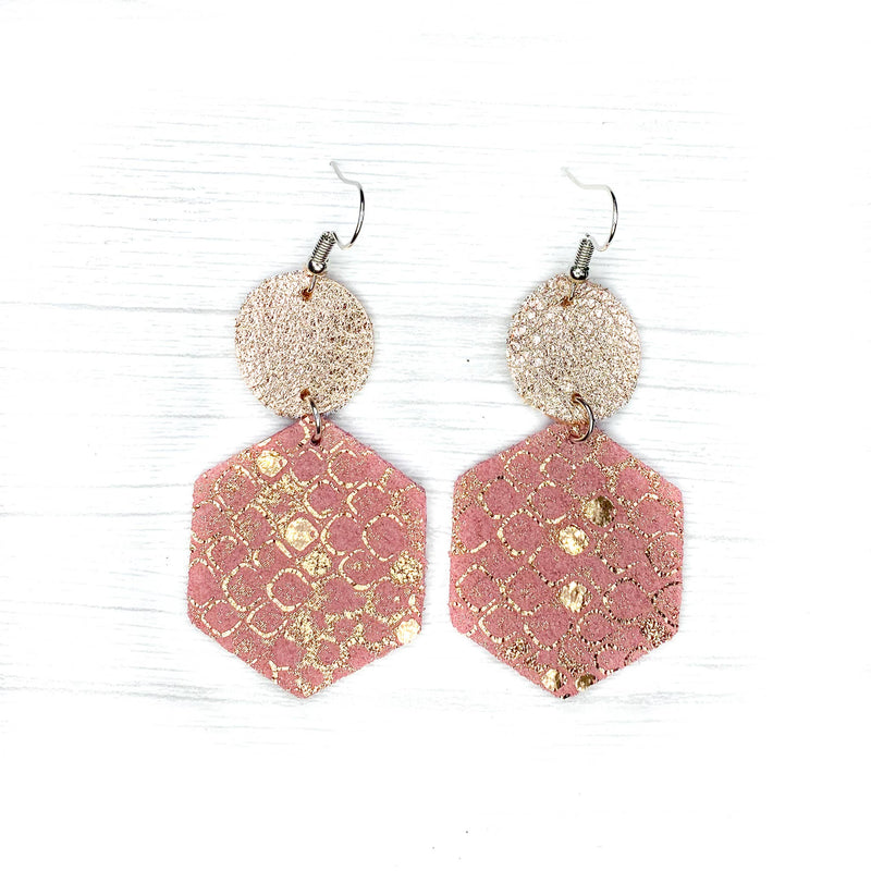 Savvy Bling Leather Earrings- Pink & Rose gold Hexagons