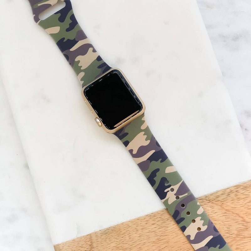 Green Camouflage Printed Silicone Smart Watch Band