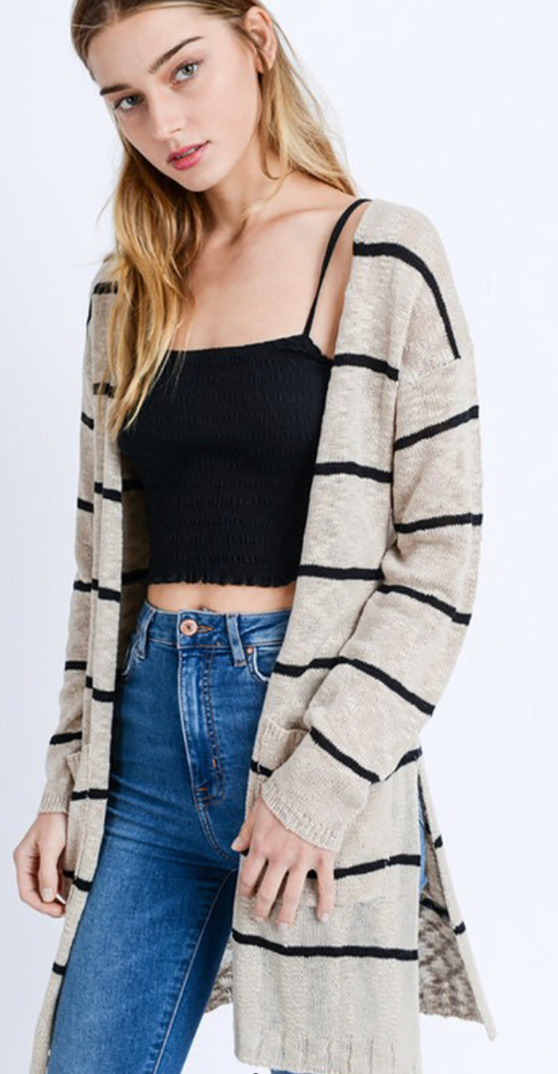 Black & Tan Striped Cardigan