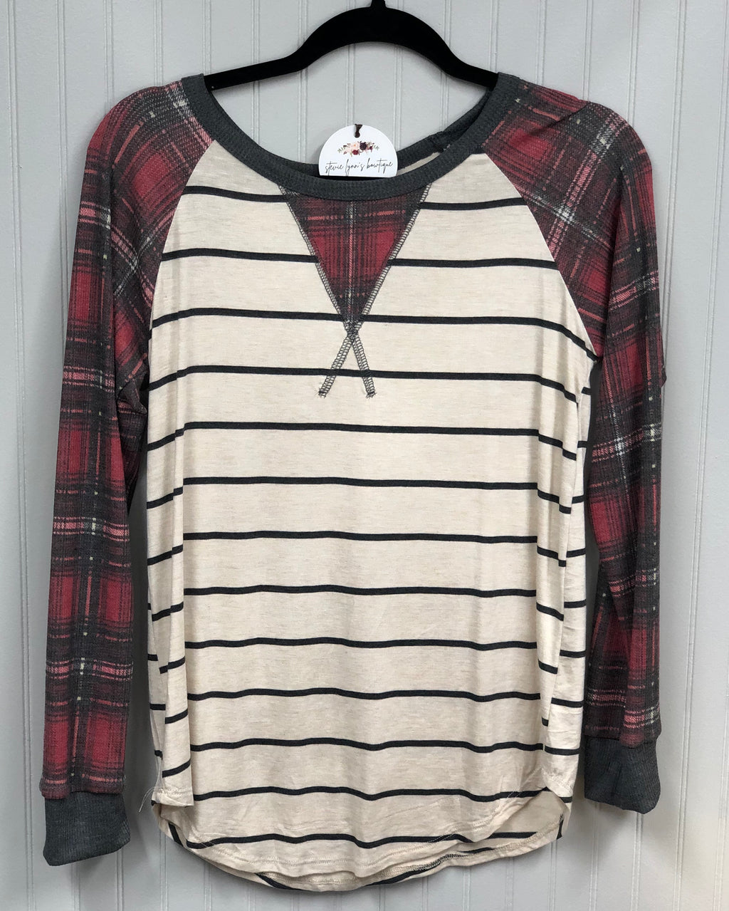 Plaid Raglan Sleeve Top