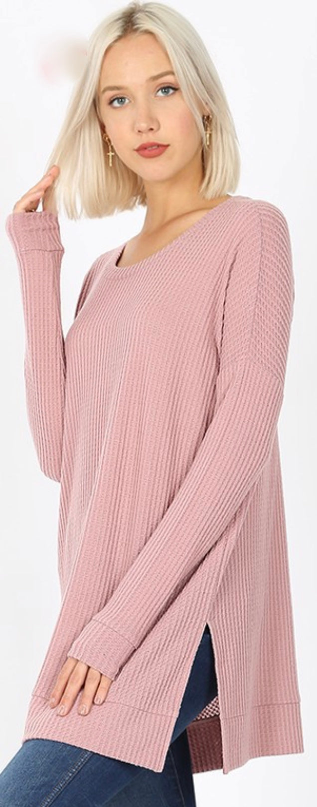Rose Waffle Top