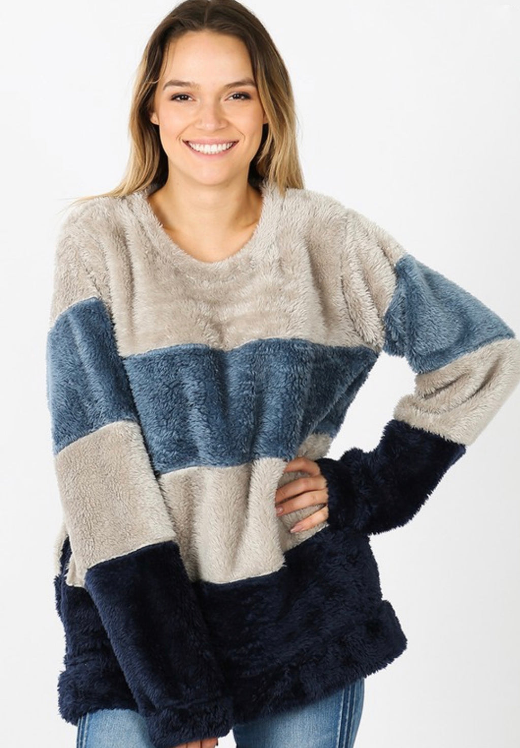 Faux Fur Multi Color Pull Over