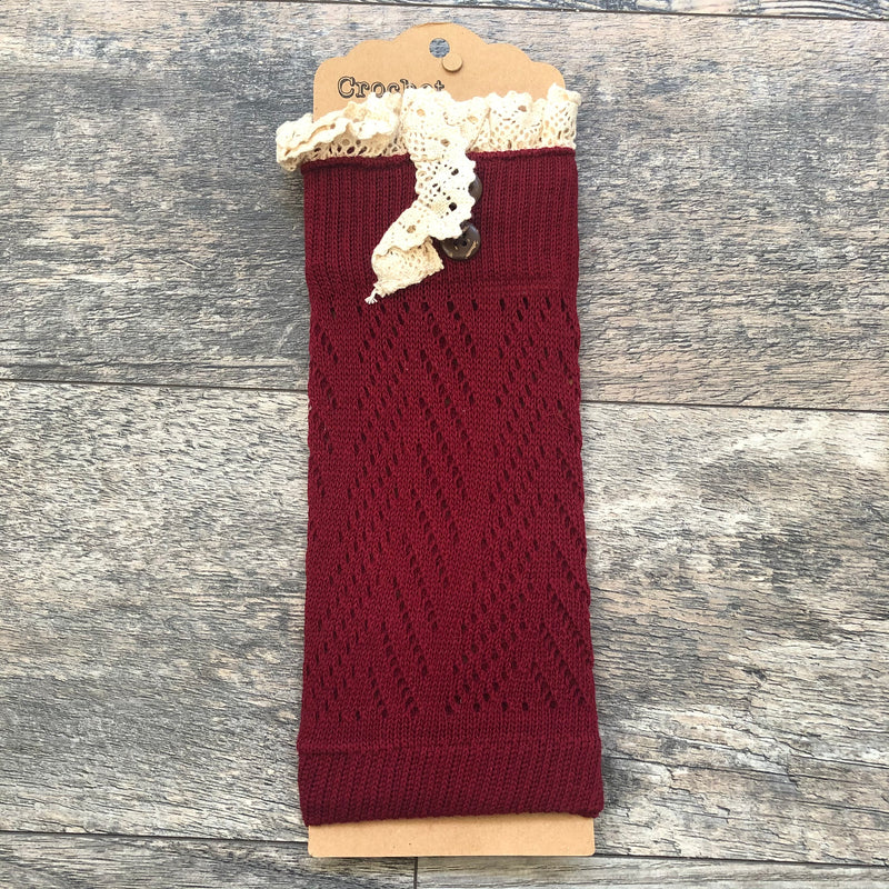 Burgundy Crochet Lace Boot Cuff