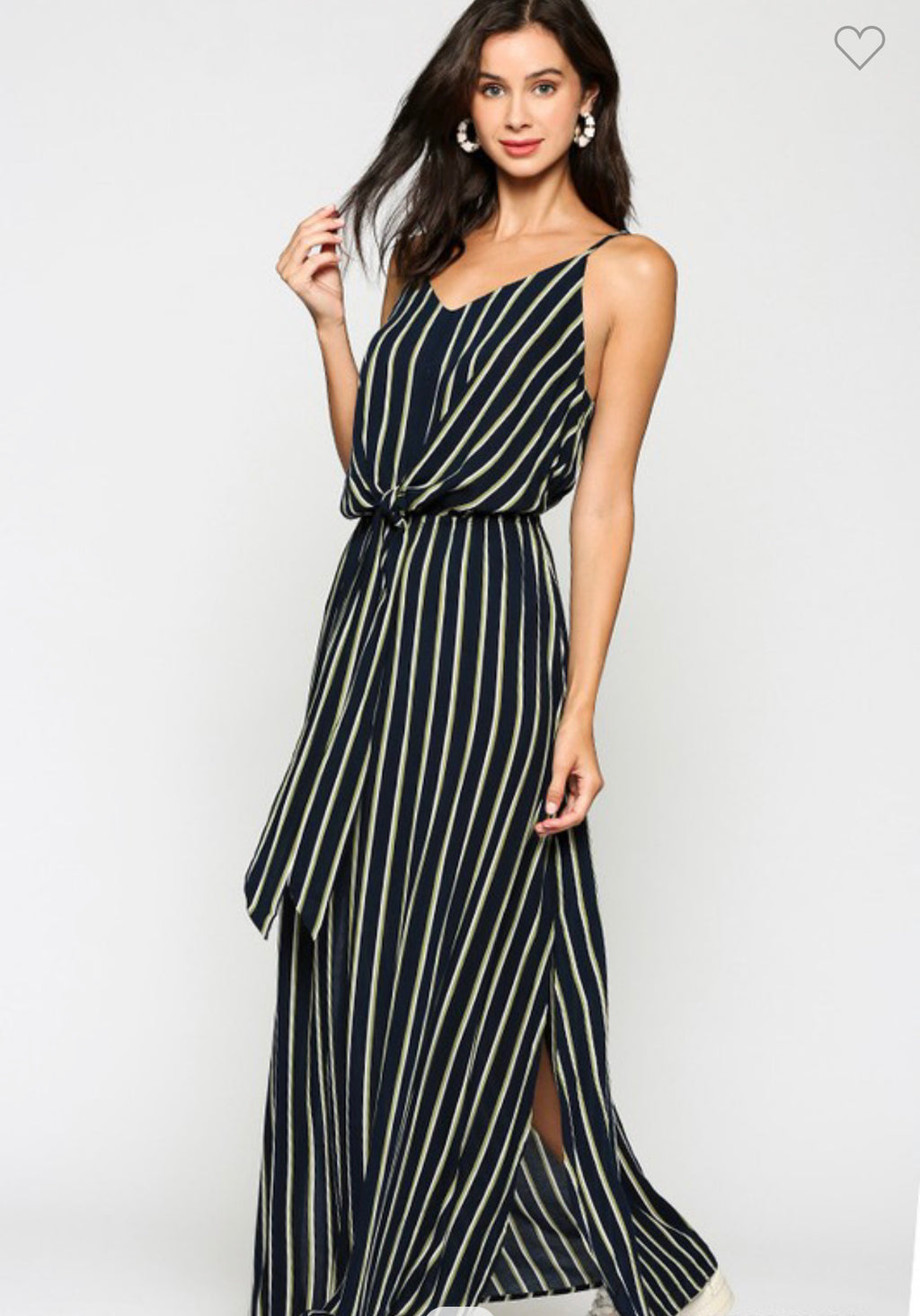 Navy Stripe Front Tie Dress