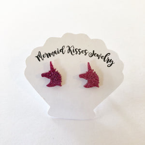 Acrylic Pink Glitter Unicorn Earrings