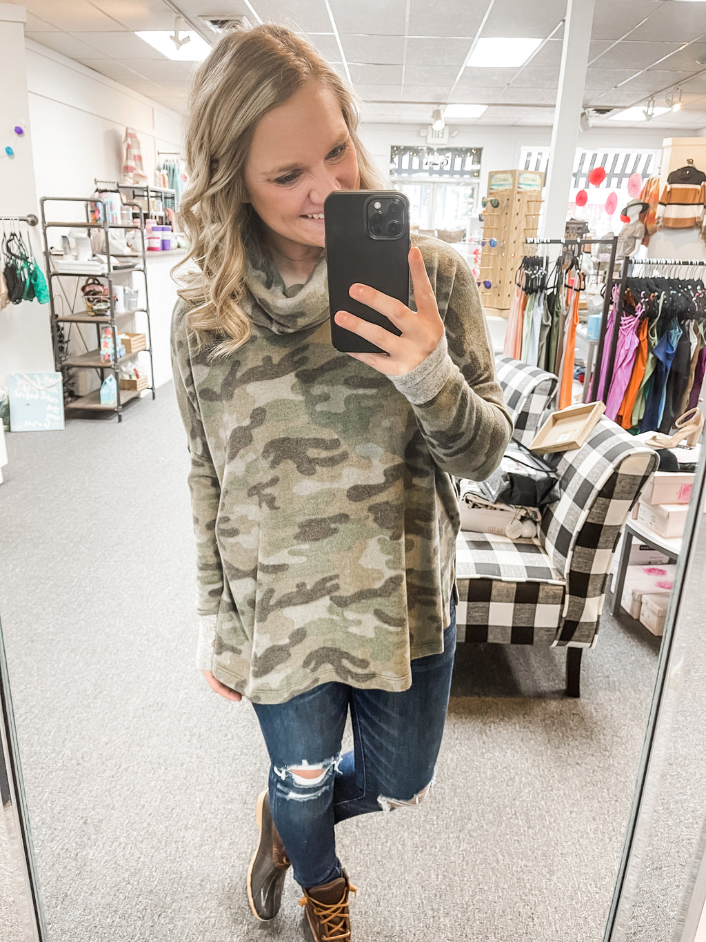 Super Soft Camo Cowl Neck Top