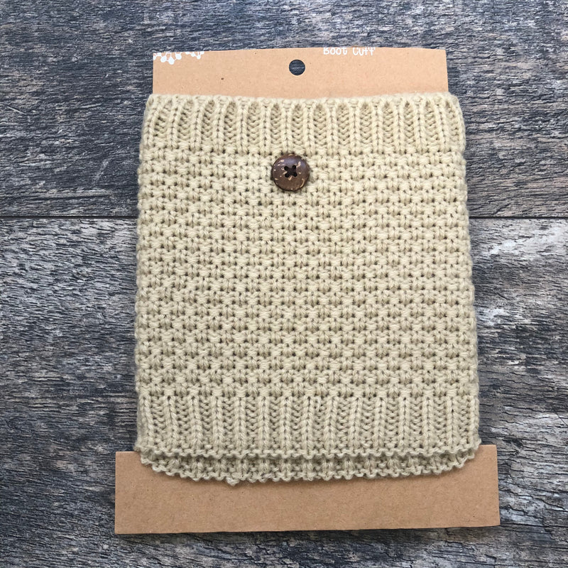 Beige Cable Knit Lace Boot Cuff
