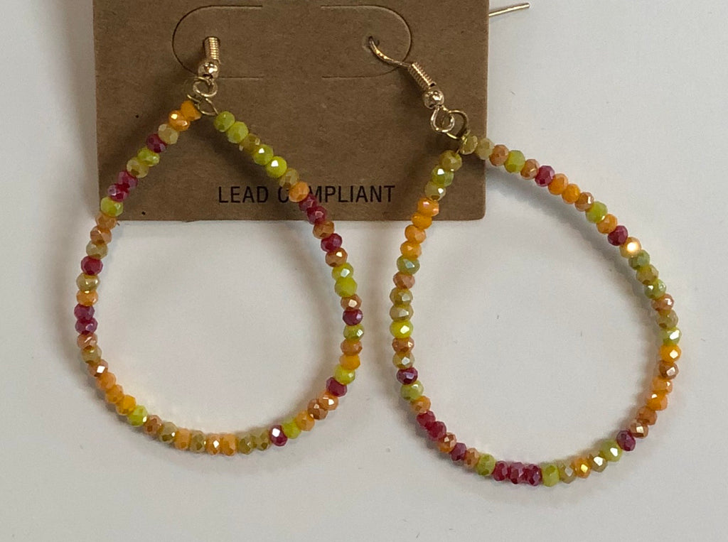 Multi Glass Bead Teardrop Earrings