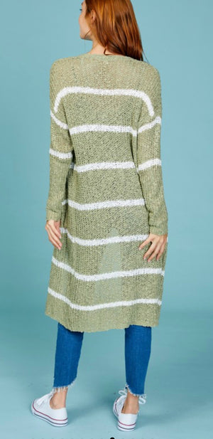 Moss Striped Cardigan