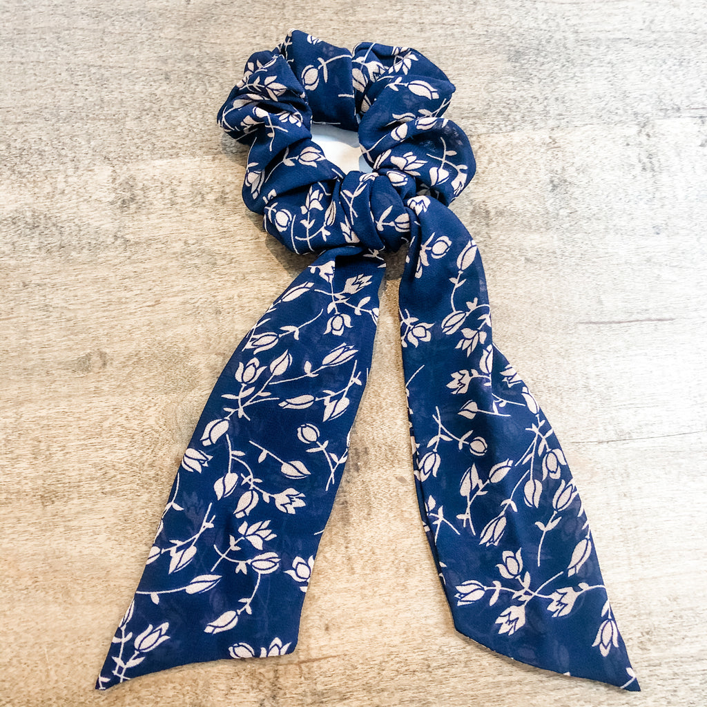SCRUNCHIE SCARVES- Navy Blues