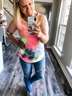 Sequin Sleeve Tie Dye Top