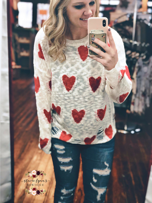 Distressed Heart Sweater