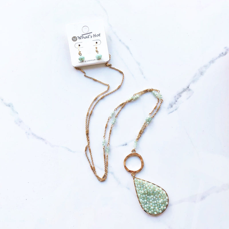 Mint Crystal Teardrop with Gold Circle Necklace