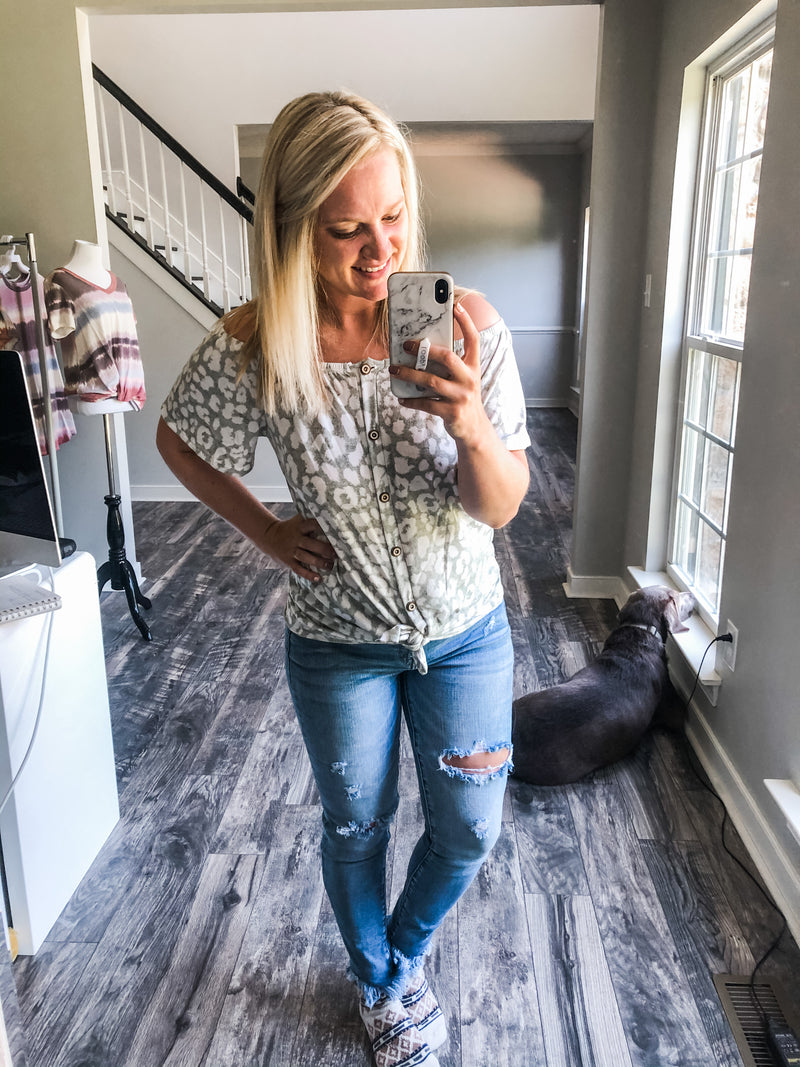 Sage Leopard Off Shoulder Top