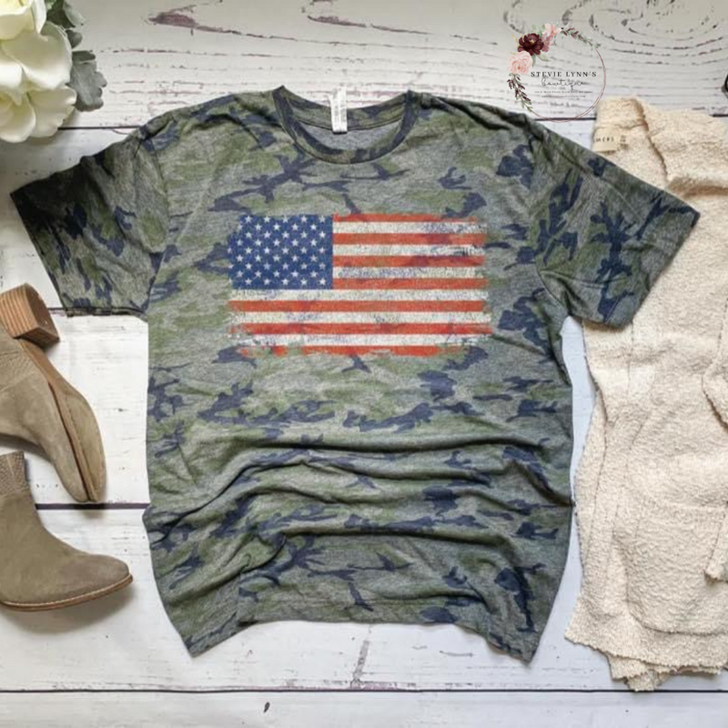 Camo Vintage Flag Graphic Tee