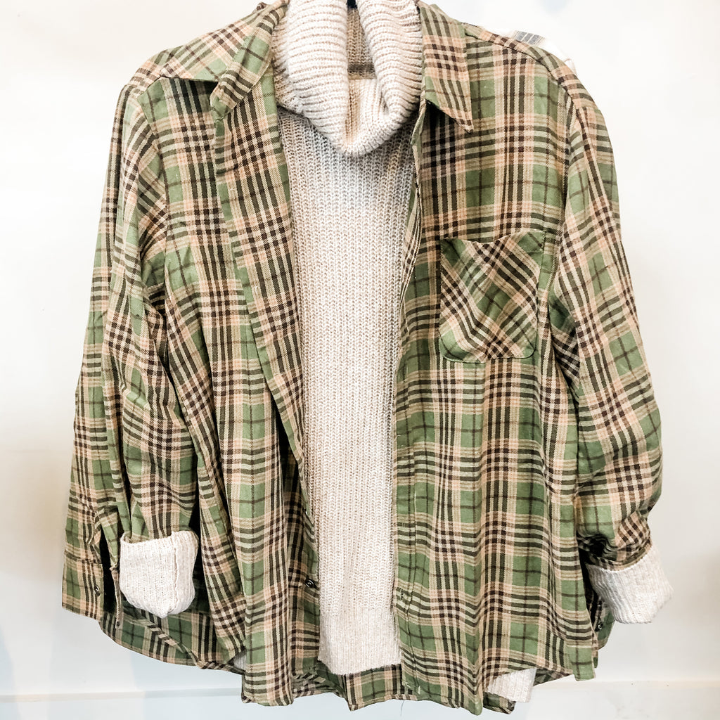 Olive Button Up Flannel Top
