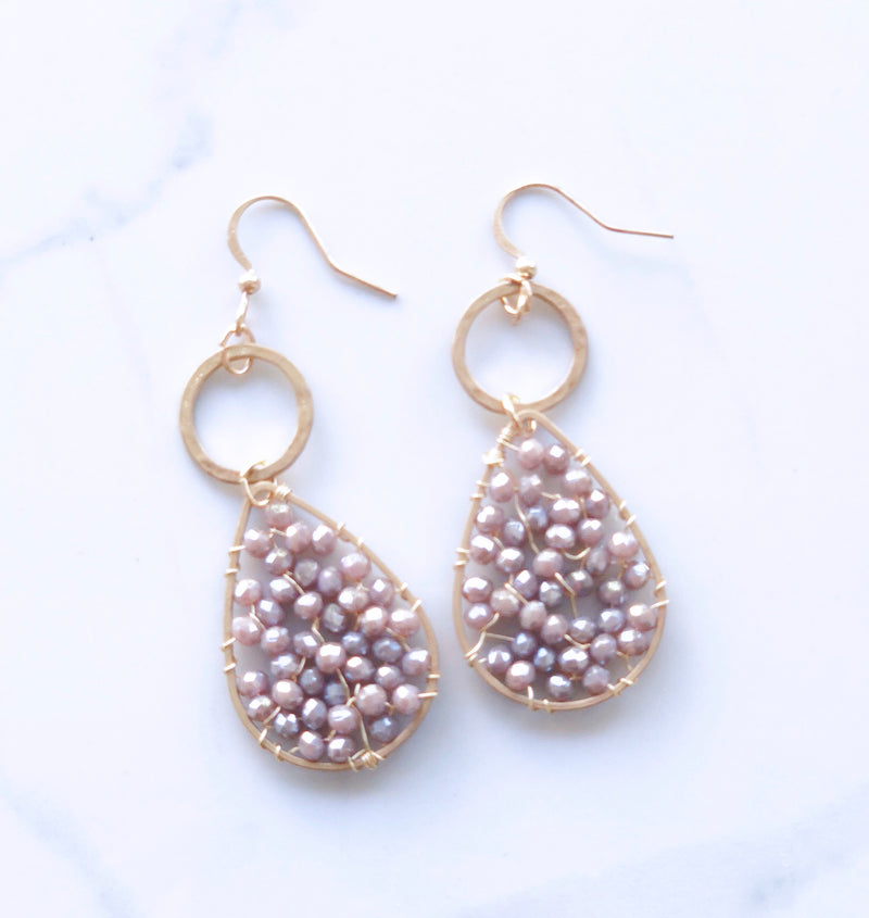 Rose Crystal with Gold Circle Earring