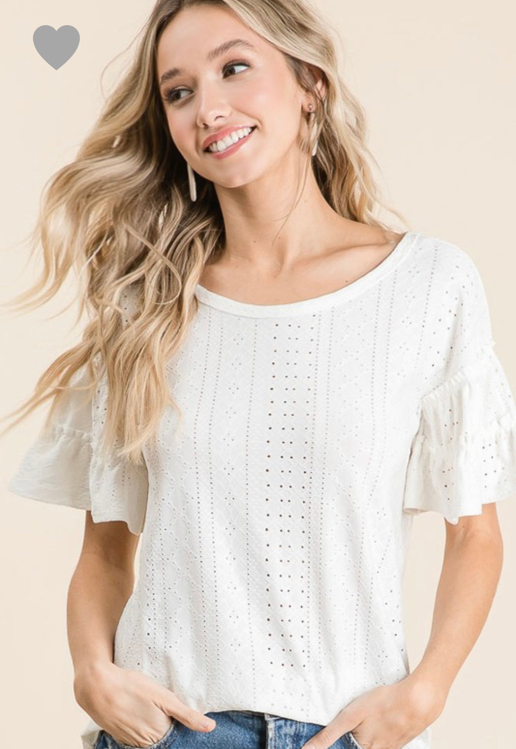 Bradie- White Eyelet Top