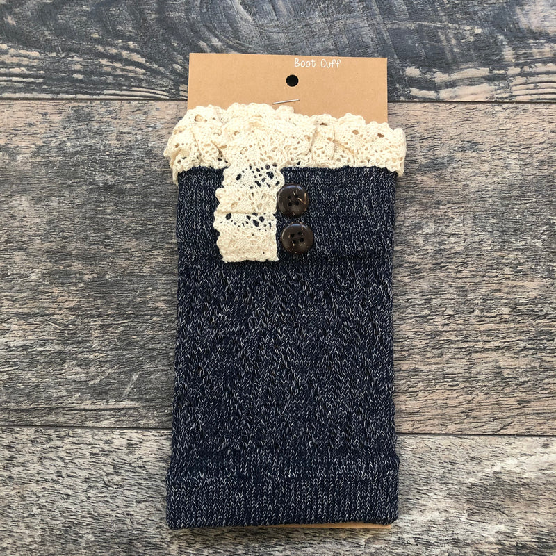 Heathered Navy Crochet Lace Boot Cuff