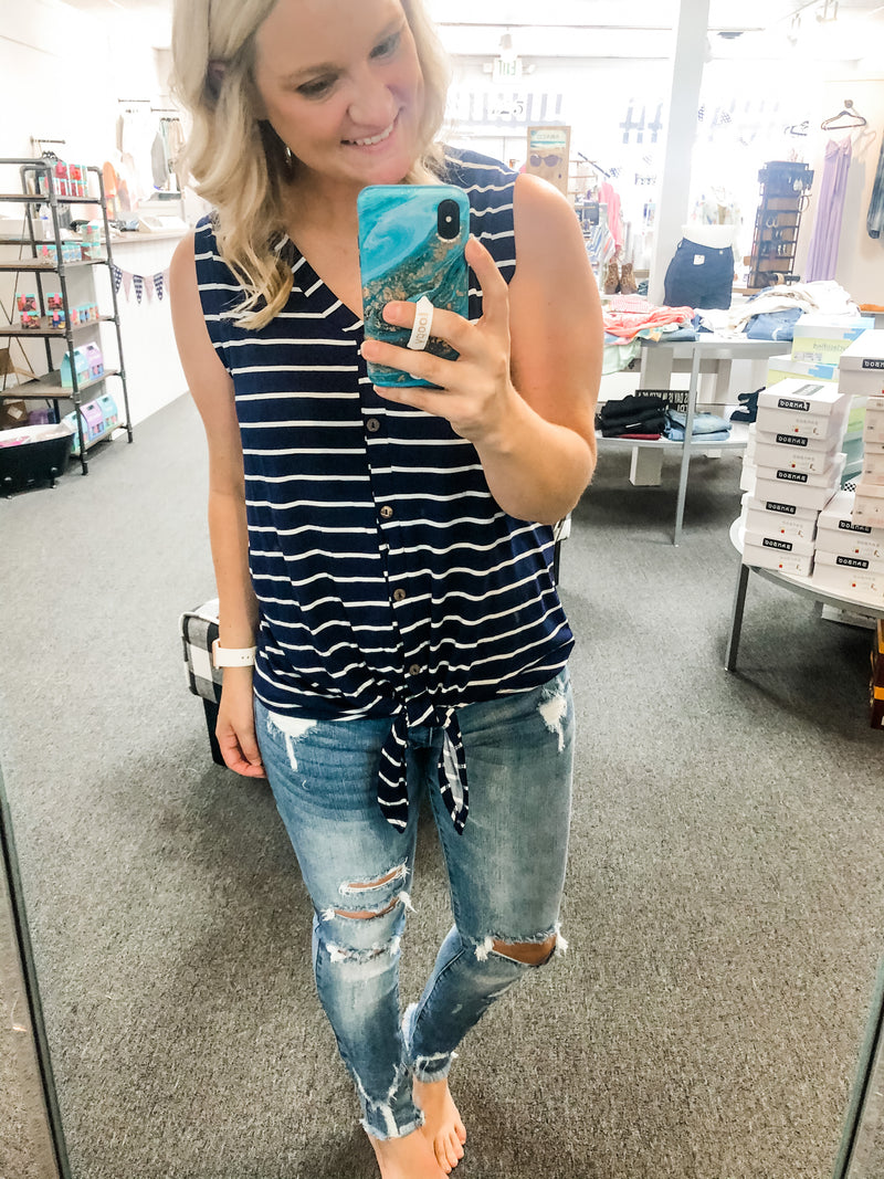 Navy/White Stripe Button Up Tank