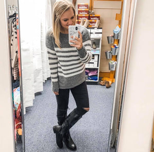 Grey/Ivory Stripe Sweater