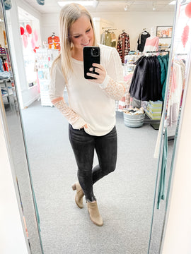 Ivory/Peach Waffle Knit Lace Top