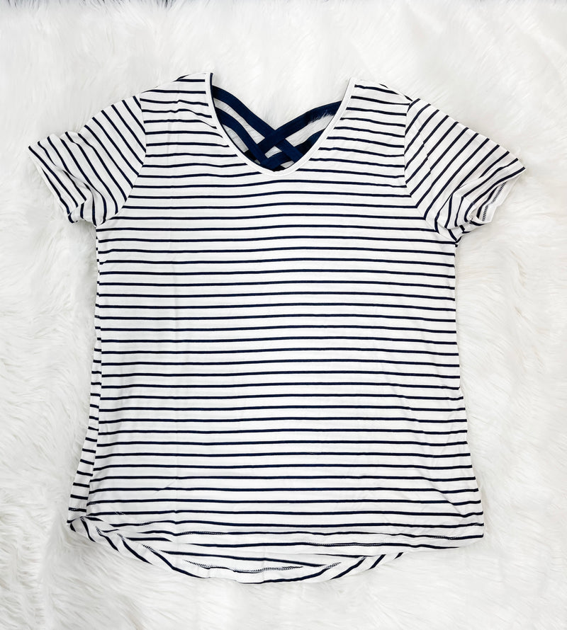 Ivory/Navy Stripe Criss Cross Top