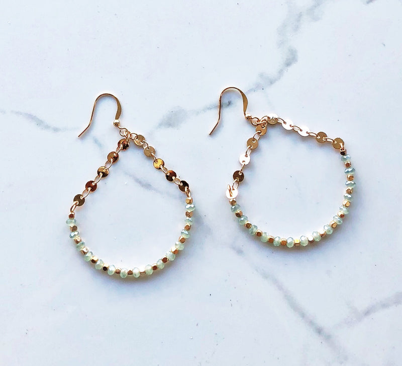 Mint Crystal Teardrop Earring