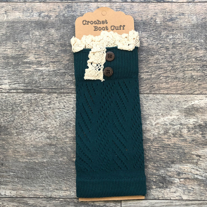 Hunter Green Crochet Lace Boot Cuff