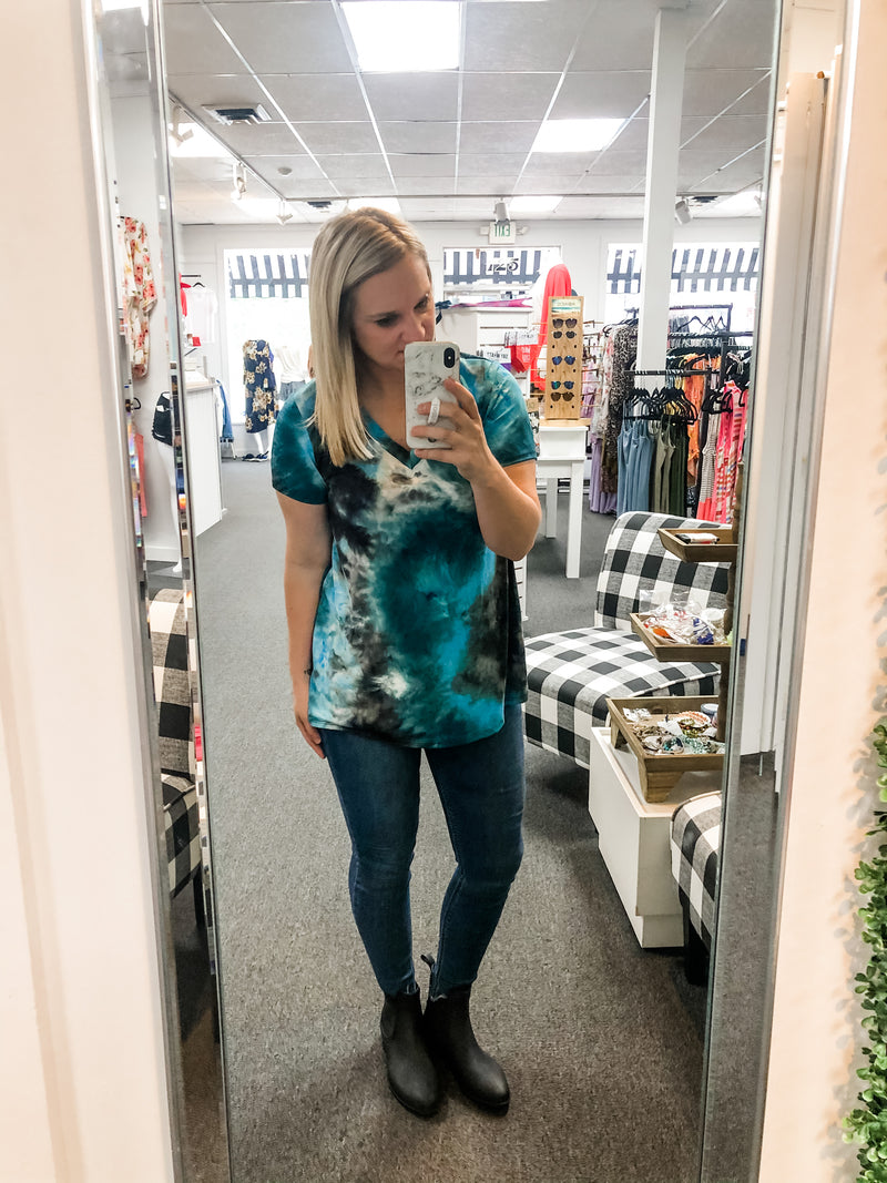 Blue/Black Tie-Dye V-Neck Top