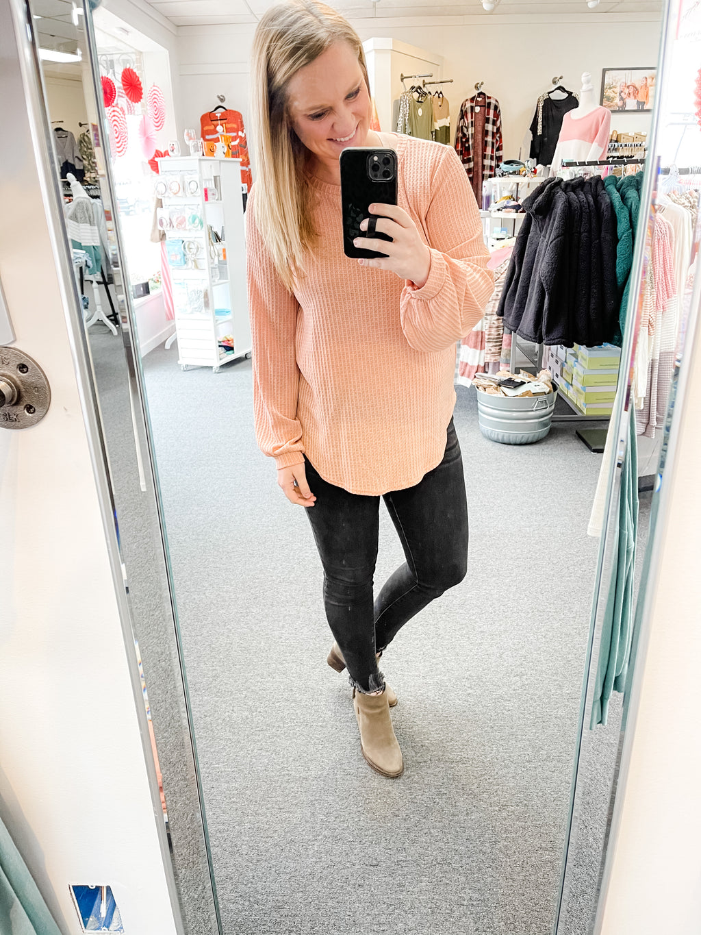 Dusty Peach Waffle Knit Top