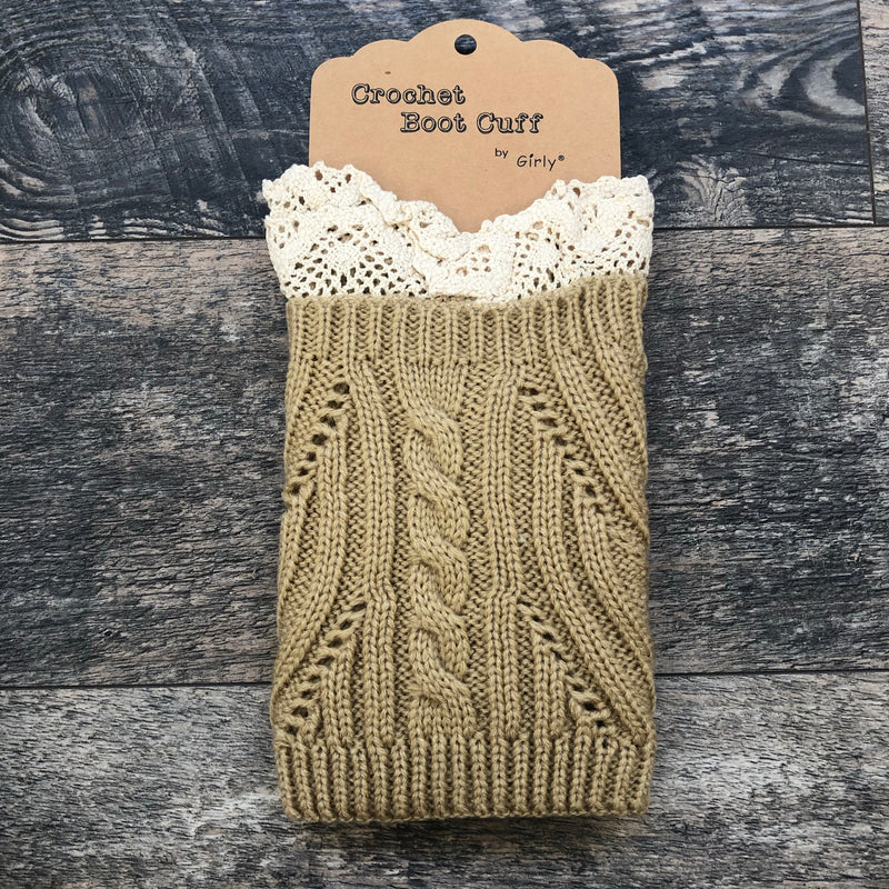 Beige Crochet Lace Boot Cuff