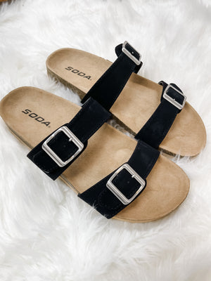 Dunya Black Double Strap Sandals