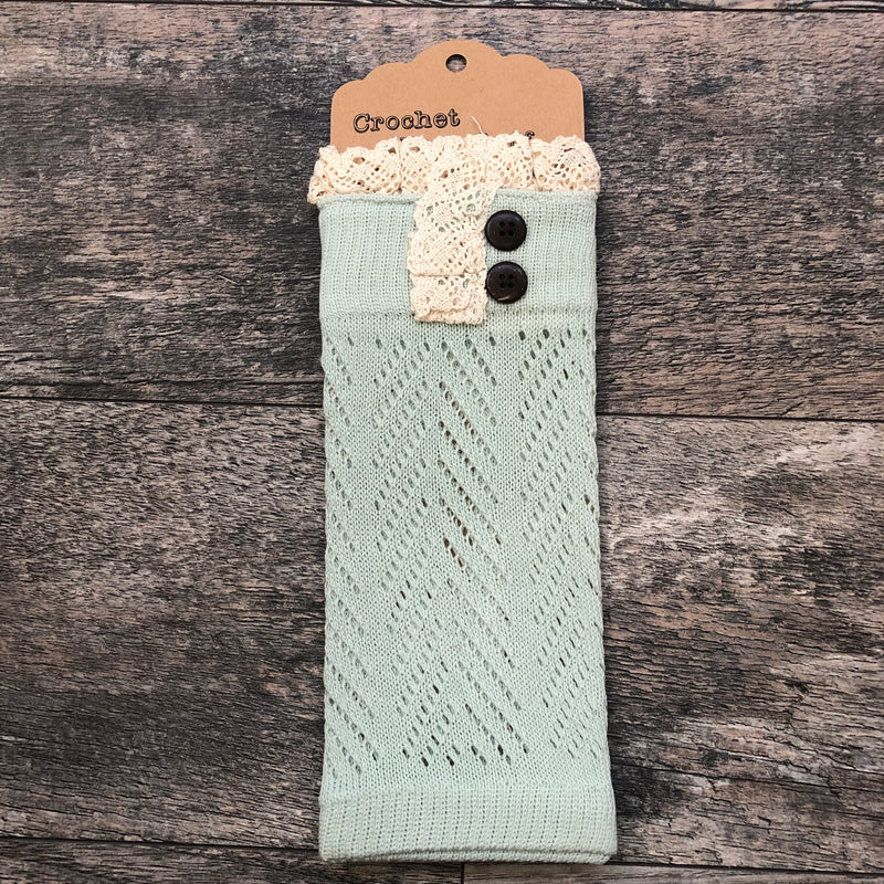 Mint Crochet Lace Boot Cuff