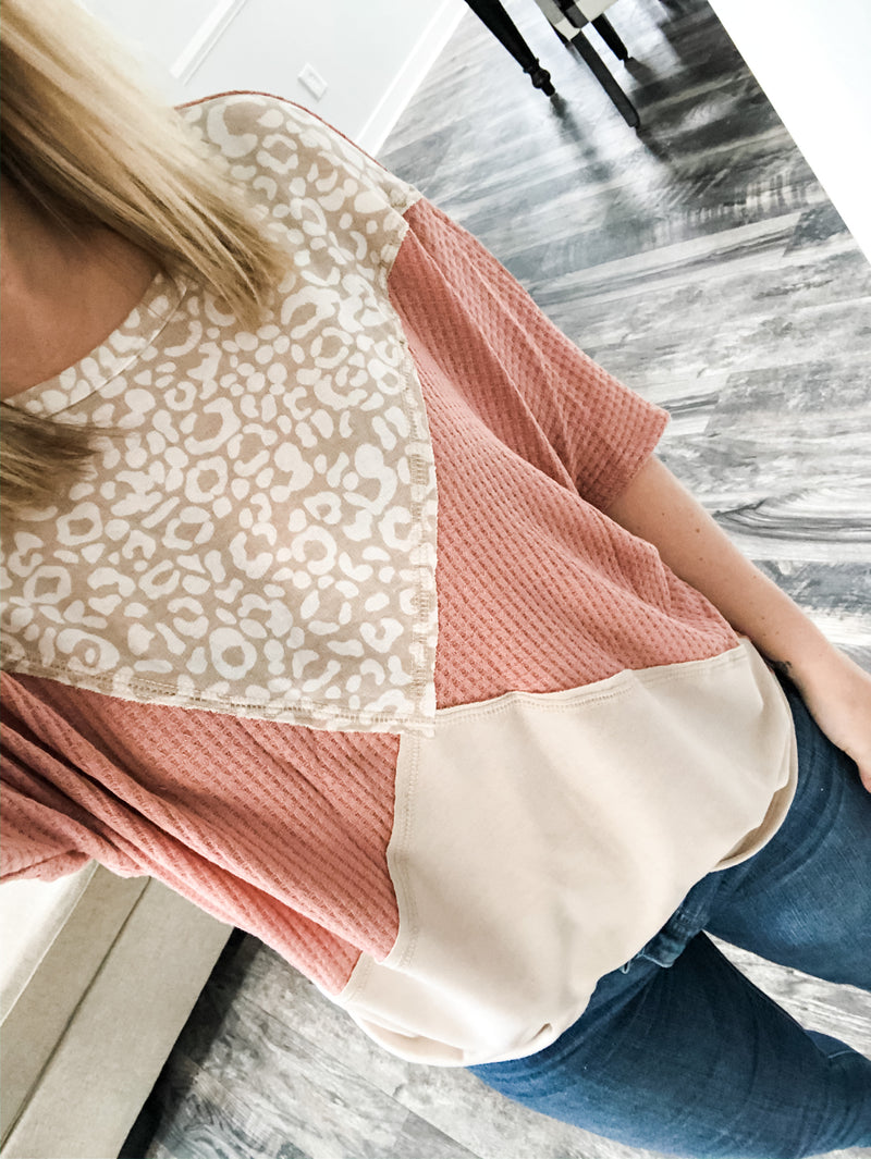 Rae- Leopard Blush Color Block Top
