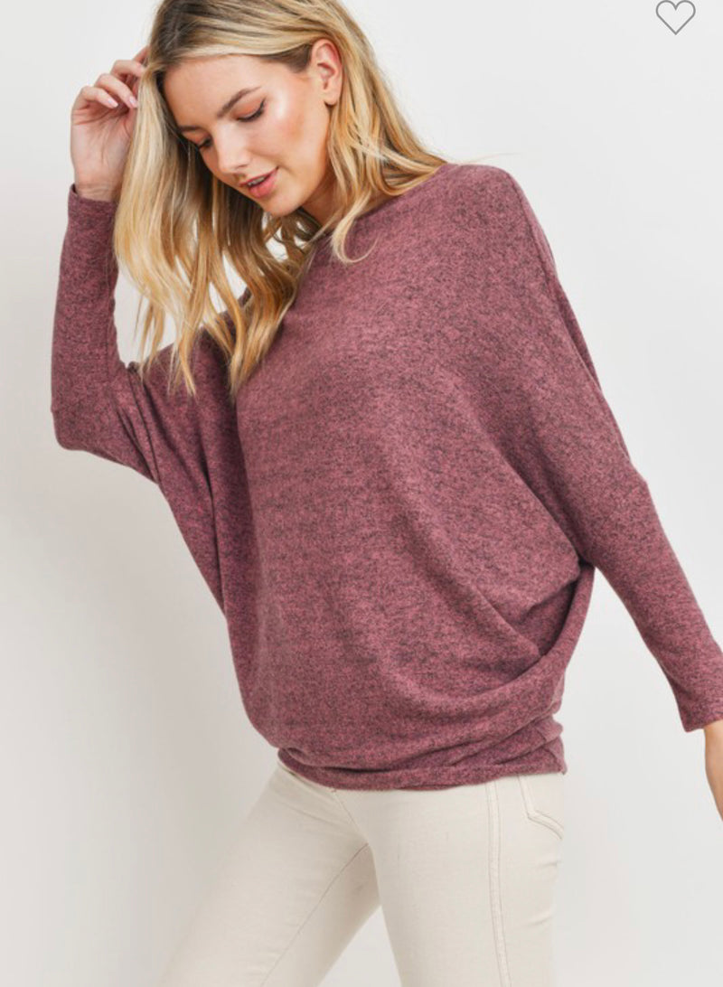 Heathered Mauve Dolman Sleeve Top
